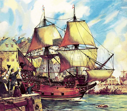 The Mayflower leaving Plymouth carrying the Pilgrim Fathers to the New World, 1620.