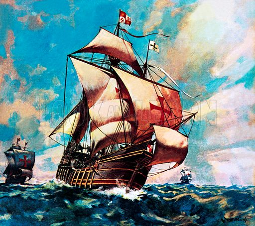 The Santa Maria, ship of Christopher Columbus on his first voyage to the New World, 1492.