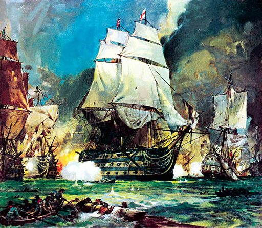 British Admiral Lord Nelson's flagship HMS Victory at the Battle of Trafalgar, Napoleonic Wars, 1805.
