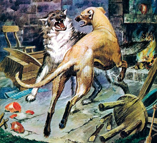 Famous Dogs: Brave Galert. The Welsh legend of Galert, who fought a wolf and saved the young child of his master, Llewellyn.