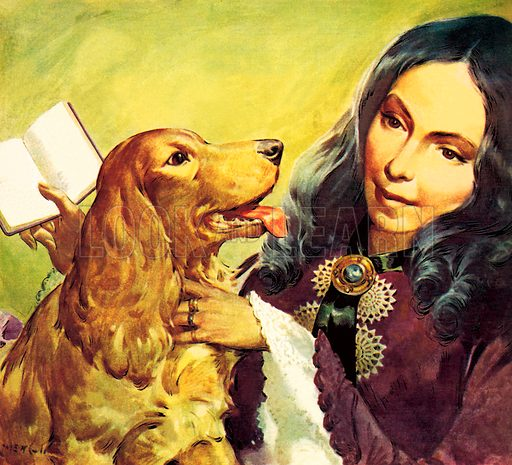 Famous Dogs: The Faithful Friend. Elizabeth Barrett Browning and her cocker spaniel Flush.