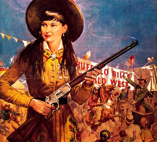 Famous Partnerships: Sharpshooter Annie – Annie Oakley and her gun.