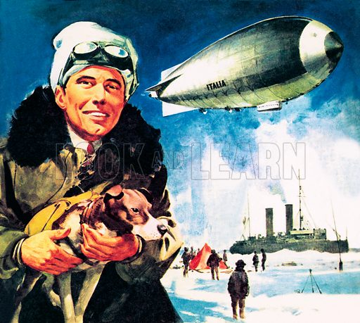 Famous Partnerships: Over the North Pole. Umberto Nobile, a prominent designer of airships in Italy, and his ship the Norge in which he flew, with Roald Amundsen, across the polar icecaps to the North Pole. His second, all Italian-crewed trip in the Italia ended in disaster.