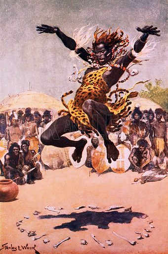 African savage dancing. Illustration originally from Boy's Own Paper.