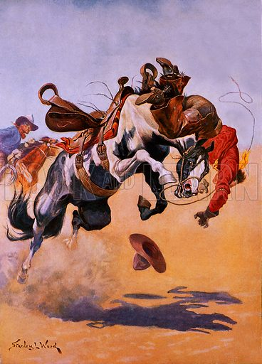 Bucked! A Rodeo Thrill. Illustration originally from Boy's Own Paper.