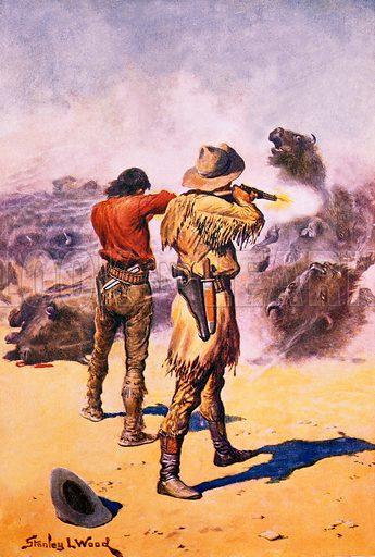 Splitting the herd. Illustration originally from Boy's Own Paper.