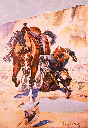 Cowboy pursued by Indians. Illustration originally from Boy's Own Paper.