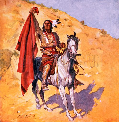 The blanket Indian. Illustration originally from Boy's Own Paper.
