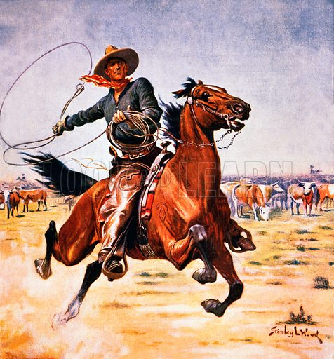 Cowboy with lassoo. Illustration originally from Boy's Own Paper.