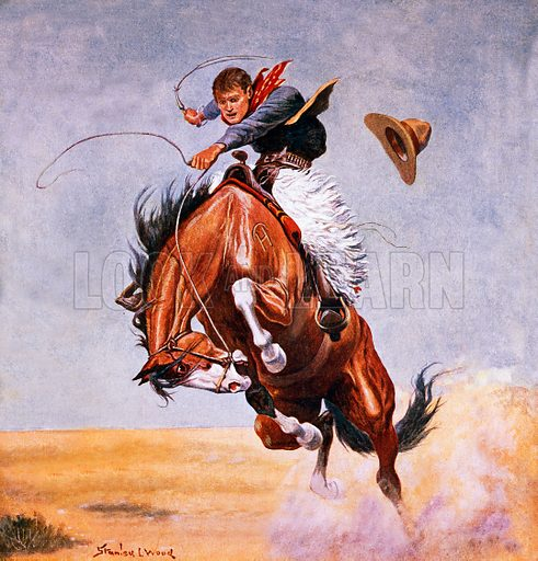 Cowboy tried to break in a horse. Illustration originally from Boy's Own Paper.