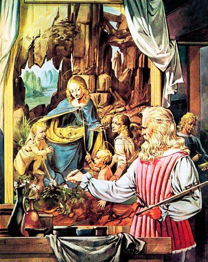 Great Events in History: The Italian Renaissance – The Masters. Leonardo da Vinci painting his masterpiece 'The Virgin on the Rocks'.