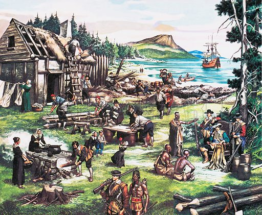 European settlers building a settlement in North America.