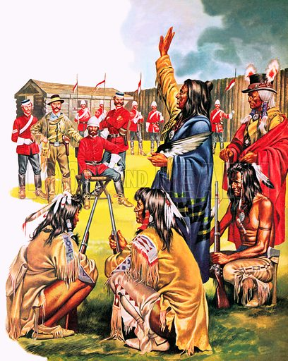 Crowfoot, Mounties and Potts, picture, image, illustration