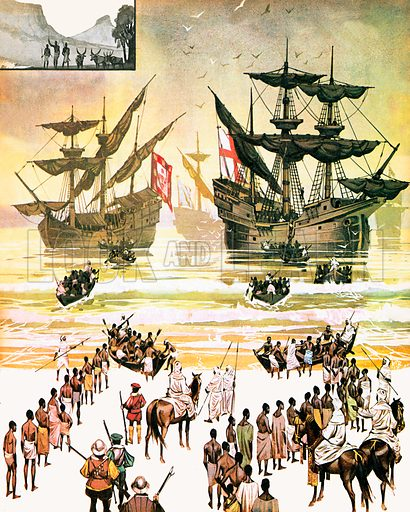 The Story of Africa: Men For Sale. Slaves being embarked on the West Coast of Africa. The slaves were not shackled as they were taken on board; most of them were sufficiently docile not to need chains.