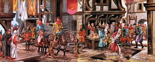 Street scene in medieval London.