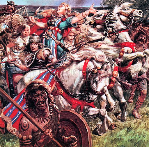 Boudicca, Queen of the Iceni, leading a revolt of her people against Roman rule in Britain, c61 Boudicca raised an army against the Roman invaders and sacked Colchester and London, killing thousands, before the rebellion was quashed.