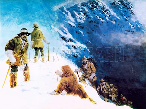 Mallory on Everest, picture, image, illustration
