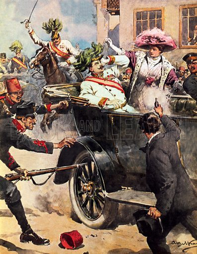 "Assassination of Archduke Francis Ferdinand of Austria, Sarajevo, Bosnia, 1914. Known as ""the shot heard around the world"", the assassination provoked the outbreak of the First World War. Illustration for La Domenica Del Corriere, 5-12 July 1914. Professionally retouched image."