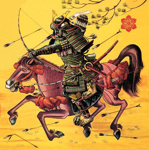 Japanese Samurai warrior on horseback.