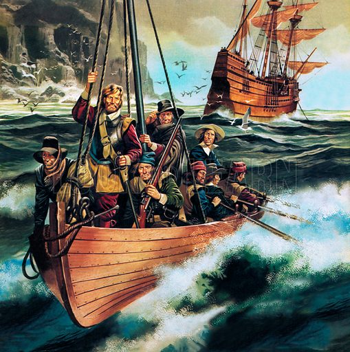 The Pilgrim Fathers arriving in America on board the Mayflower, 1620.