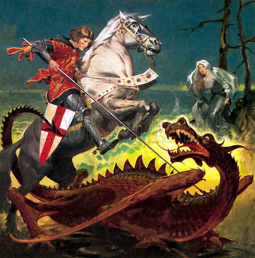 St George slaying the dragon.