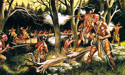 Huron warriors of North America.