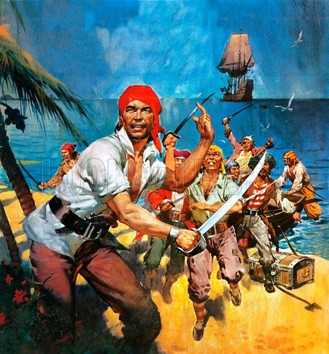 Pirates landing on a beach in the Caribbean.