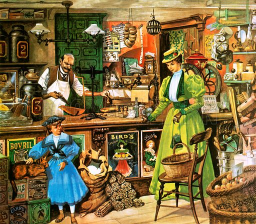 Victorian woman visiting a grocer's shop.
