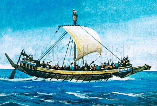 Egyptian warship.  NB Scan of small illustration.