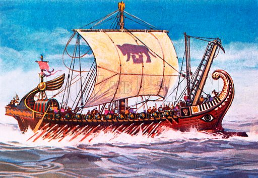 Roman warship.  NB Scan of small illustration.