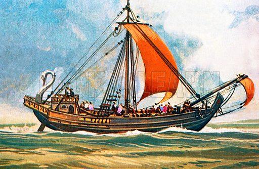 Roman cargo ship.  NB Scan of small illustration.