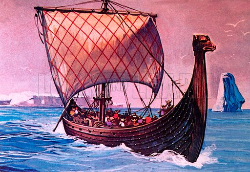 Viking ship.  NB Scan of small illustration.