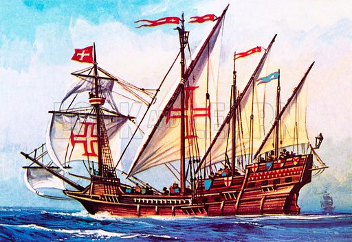 Portuguese caravel, sailing ship of the Age of Discovery, 15th – 16th Century. NB Scan of small illustration.