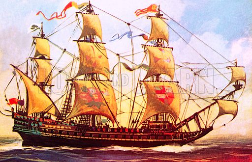 The Spanish Galleon.  NB Scan of small illustration.