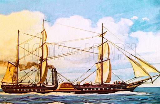 RMS Britannia, British ocean liner launched in 1840. NB Scan of small illustration.