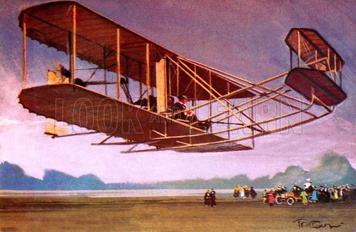 Wright Flyer, aircraft of American aviation pioneers the Wright Brothers, 1900s. NB Scan of small illustration.