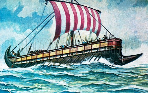 Phoenician ship.  NB Scan of small illustration.