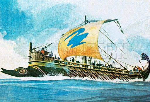 Greek warships. NB Scan of small illustration.