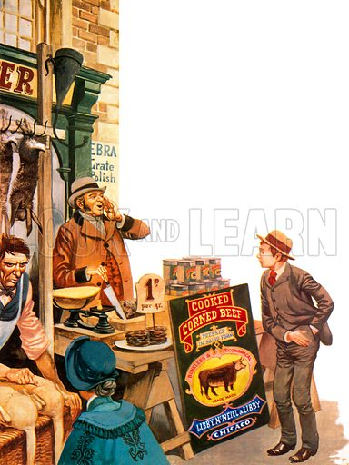 Corned beef being sold in England in 1870, having been imported from the United States.