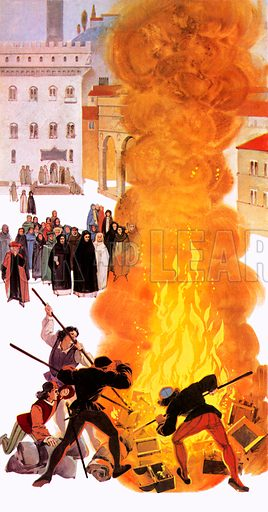 Bonfire of the vanities, Florence, Italy, 1497.  Dominican friar Girolamo Savonarola persuaded the Florentines to bring jewellery, art, books and other objects considered to be sinful to the city square for a sin-redeeming burning.
