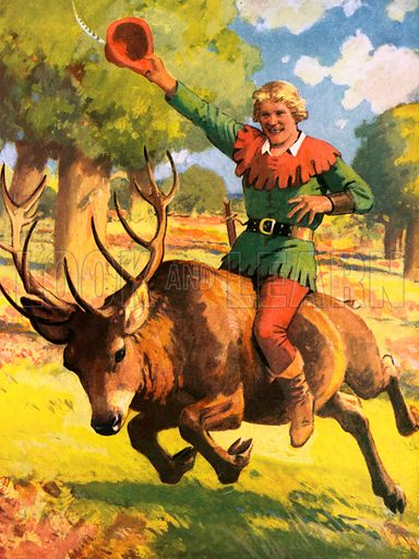 Robin Hood on the back of a stag