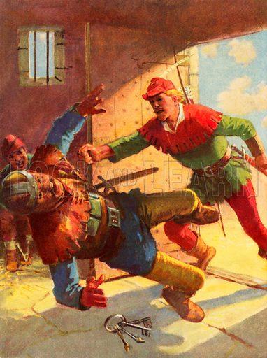 Robin Hood attacking Little John's guard.