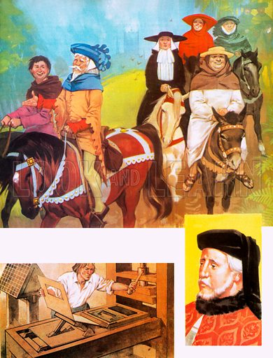 Chaucer (bottom right) and his pilgrims (above), with a picture of William Caxton's printing press (bottom left).