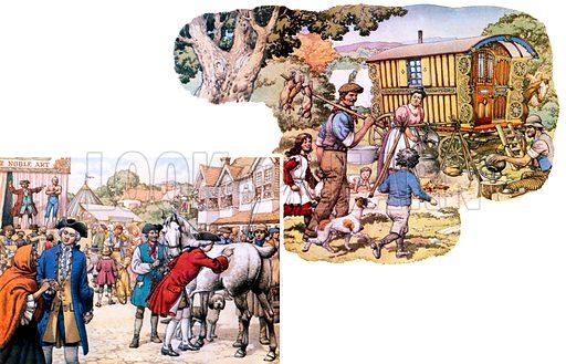 Gypsies.  Left: An 18th century market scene.  Right: A gypsy caravan.