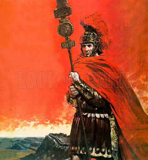 Roman Legionary in front of Hadrian's Wall.  In 117 AD the Ninth Legion of Rome was sent northwards beyong Hadrian's Wall.  They never returned, and the mystery of how an entire Legion of nearly six thousand men vanished still remains unsolved.