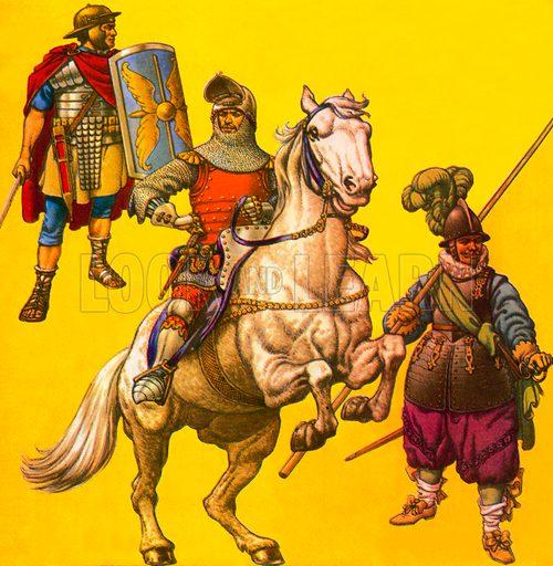 Armour.  Left to right: Roman legionary 1st century AD; 14th century knight; 17th century pikeman.