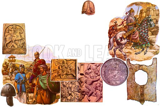 Assorted warriors and artificacts, including (top right) a reconstuction of the 7th century king, Khusru II.