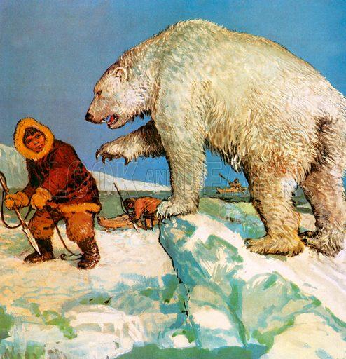 Polar bear and eskimos.
