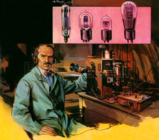 Lee de Forest.  Long distance wireless transmission became possible with the improvement made to the radio valve by Lee de Forest in 1906.  Here are four versions of his valve.  De Forest is shown below with the transmitter he used in 1906 to broadcast the voice of the famous tennor, Enrico Caruso.