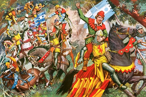 Robin Hood attacking Norman soldiers.